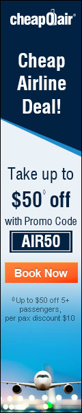 Cheap Airline Deals! Take up to $50 ◊ off with Promo Code AIR50. Book Now!