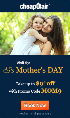 Visit for Mother's Day!  Take up to $9◊ off with Promo Code MOM9 Book Now!