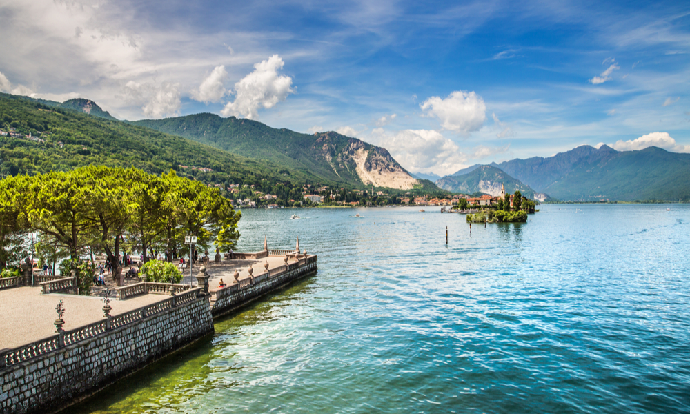 Beautiful lake Maggiore with the islands. Italy