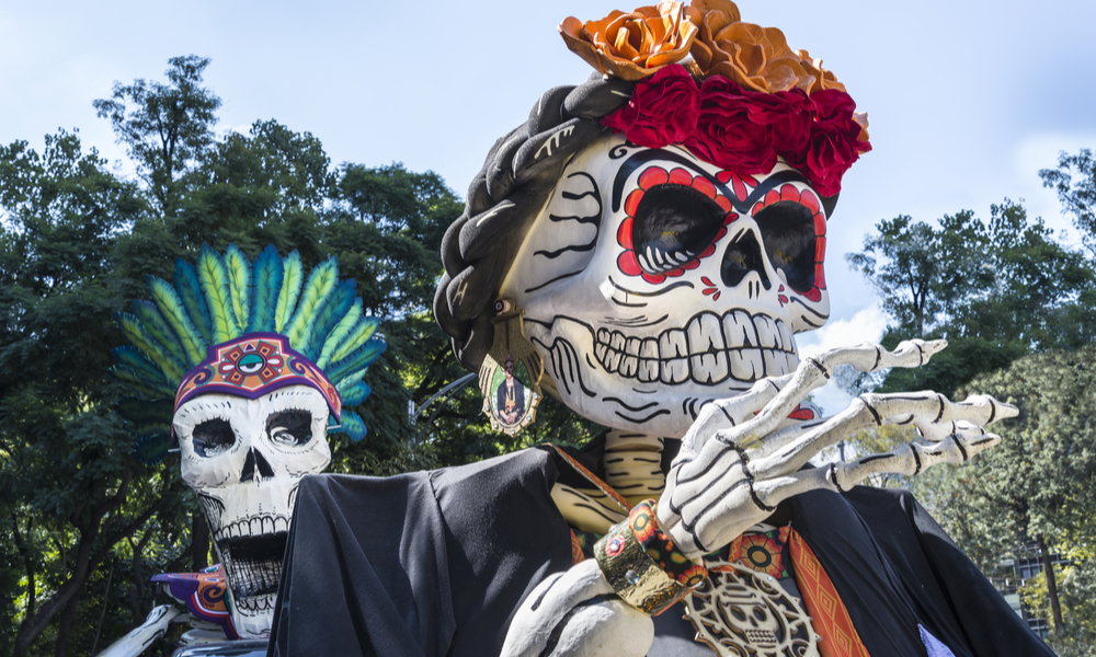 Big figures representing skeletons. This is part of the festivities held in Mexico due to the Day of the Dead