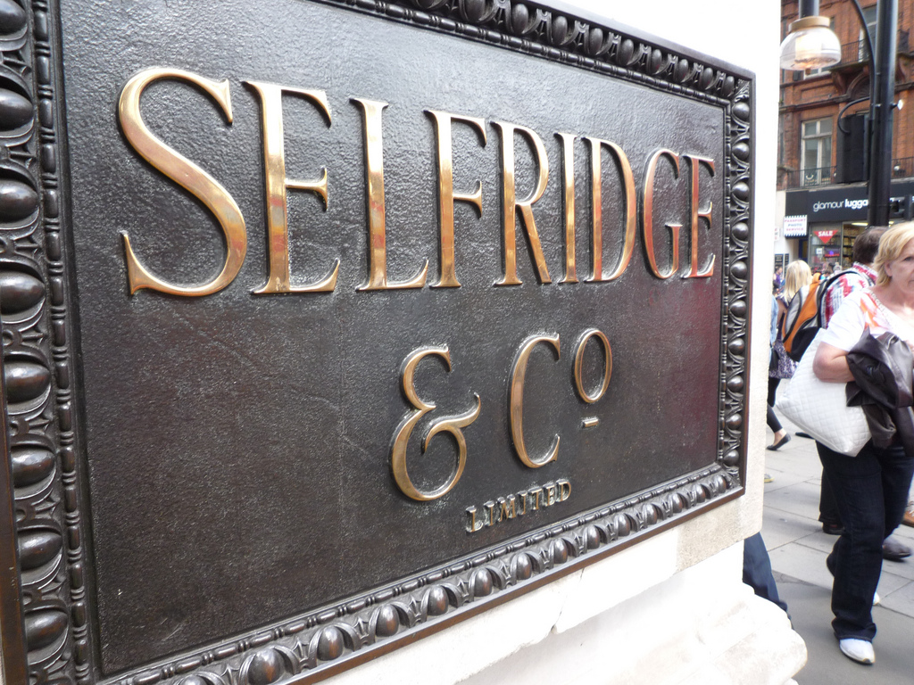 """Selfridge & Co sign"" by Ambernectar 13 is licensed under CC 2.0."