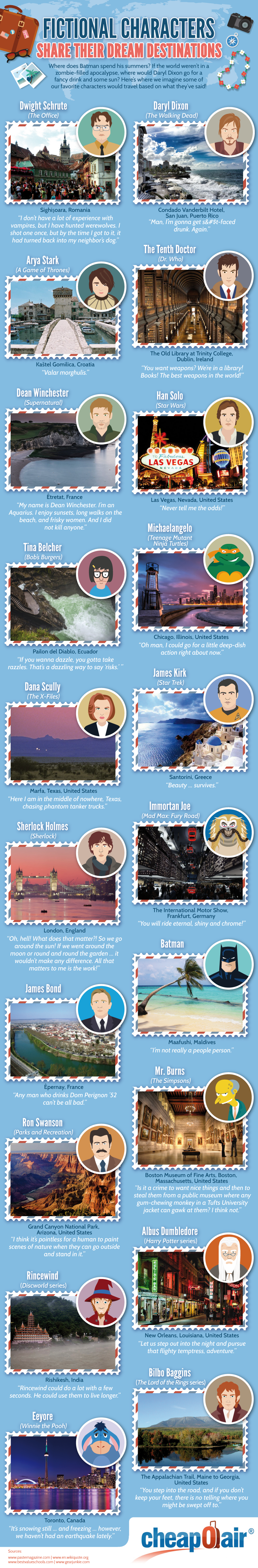 Fictional Characters Share Their Dream Destinations - CheapOAir.com - Infographic