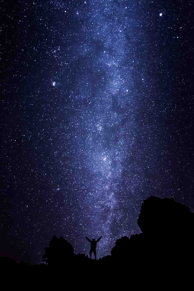 Silhouette of Stargazer in Milky Way Ecstasy at Tenerife / Shutterstock