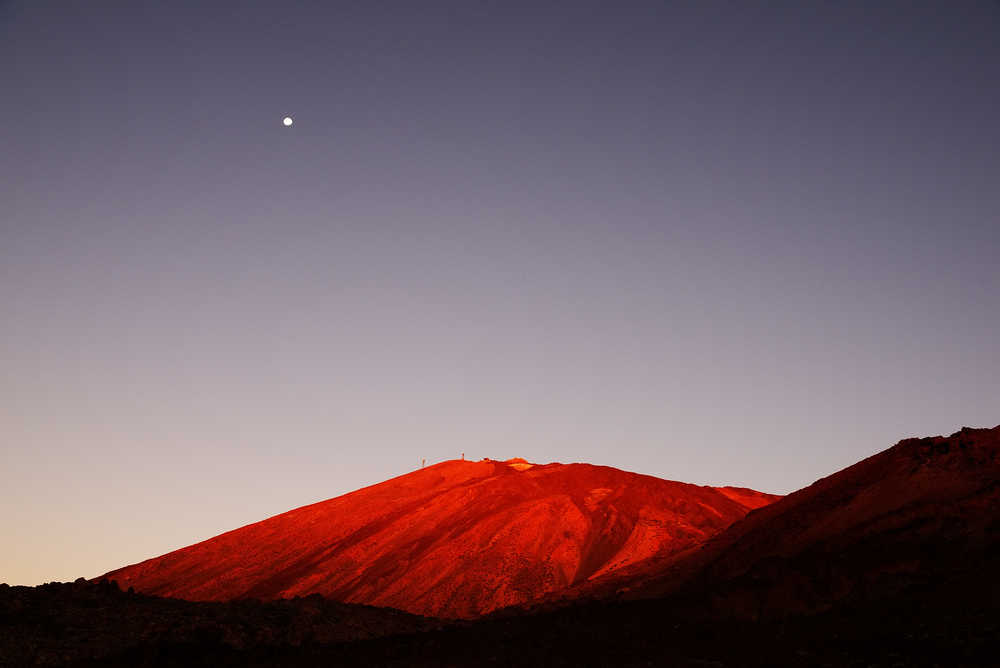 Moon Above El Teide National Park on Tenerife / Shutterstock