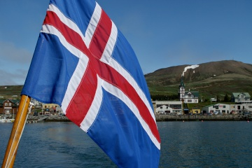 Iceland flag on a boat