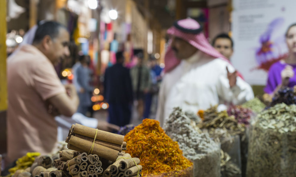 Shoppers at the spice souk in Dubai