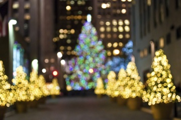 """Christmas Trees Blur"" An abstract blur of Christmas trees in Rockefeller Center in New York City."