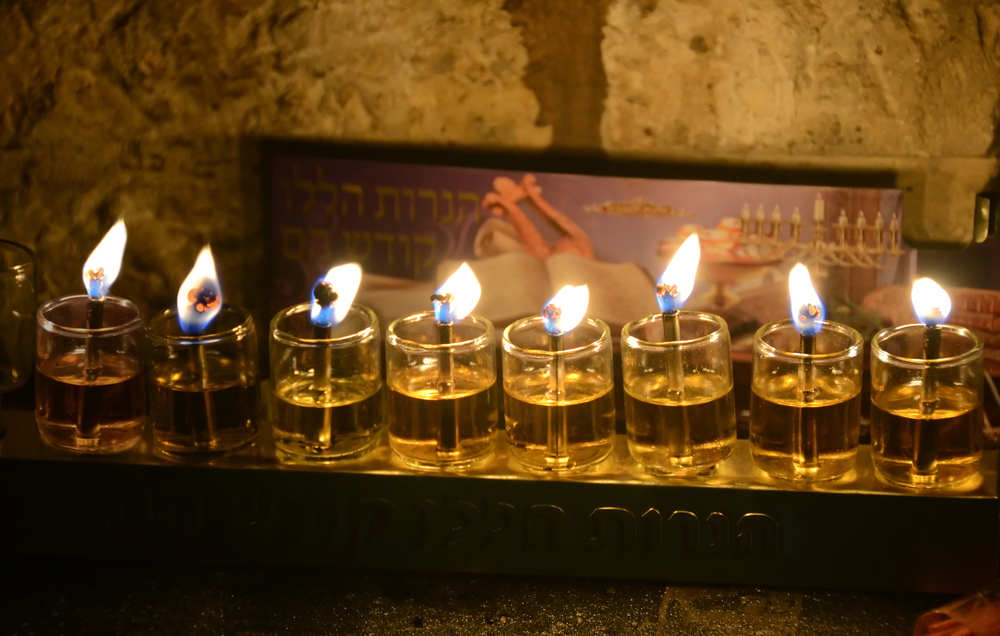 Close up view of Chanukkah candles in Jerusalem Old City.