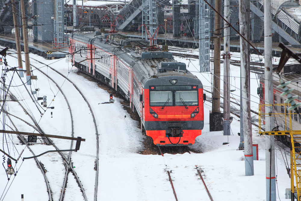 train at the railway station in the winter