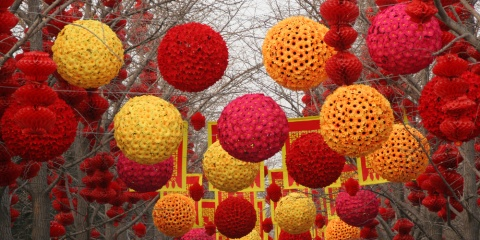 Chinese New Year Decorations, Ditan Park, Beijing, China. During Lunar New Year, many parks and temples in China have large outdoor fairs, festivals.