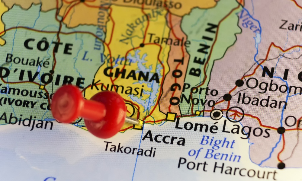 pin on a map of Ghana