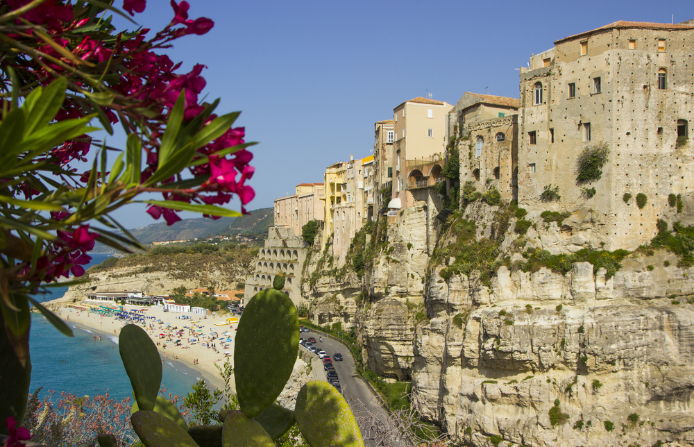 Tropea, Italy, Calabria, the houses are built on a high rock above the sea