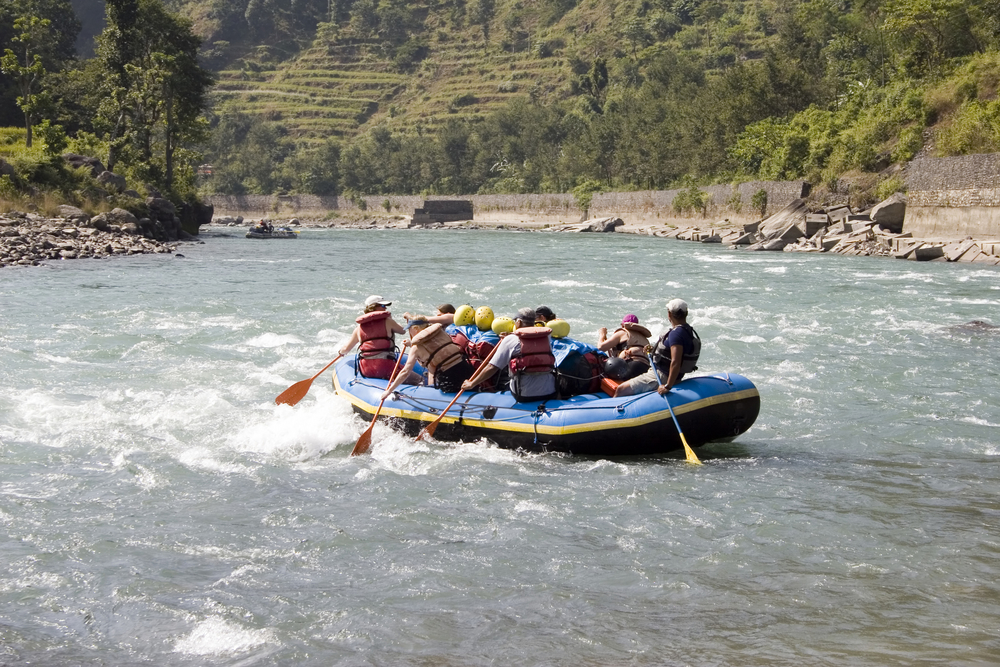Whitewater Rafting on the Bhote Koshi in Nepal. The river has class 4-5 rapids.
