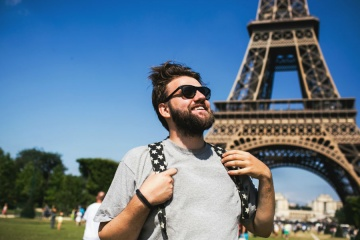 young backpacker in paris