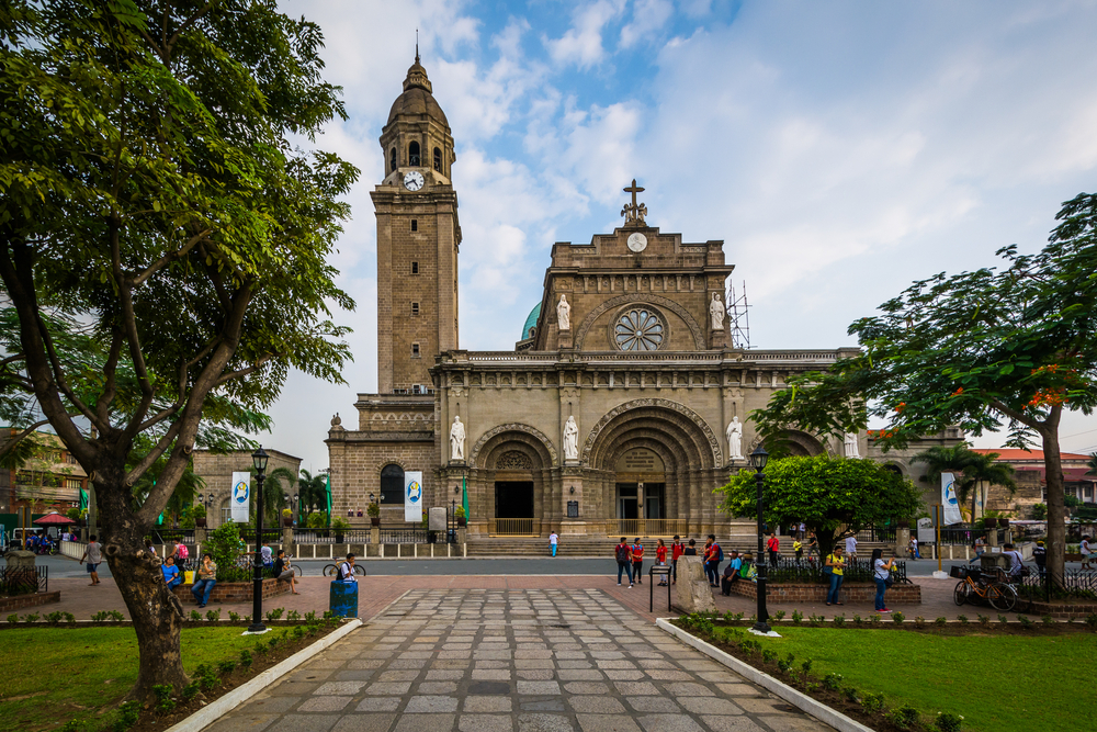 The Manila Cathedral, in Intramuros, Manila, The Philippines.