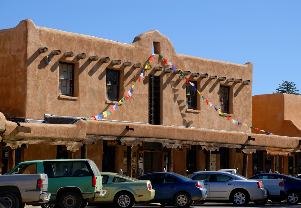 Bunch of little stores in old Taos, New Mexico