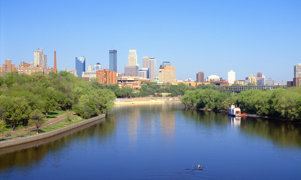 Minneapolis Skyline and Mississippi River, Minnesota