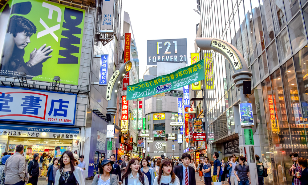 Crowds at the Shibuya, the famous fashion centers of Japan