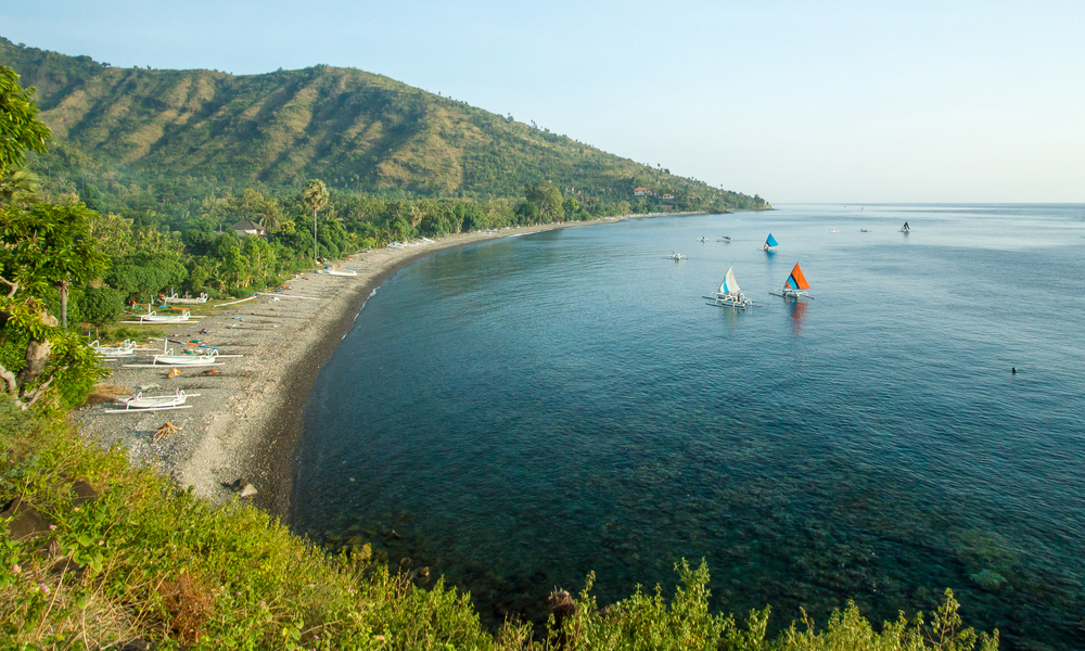 Scenic view of Agung volcano from Amed village, Bali, Indonesia