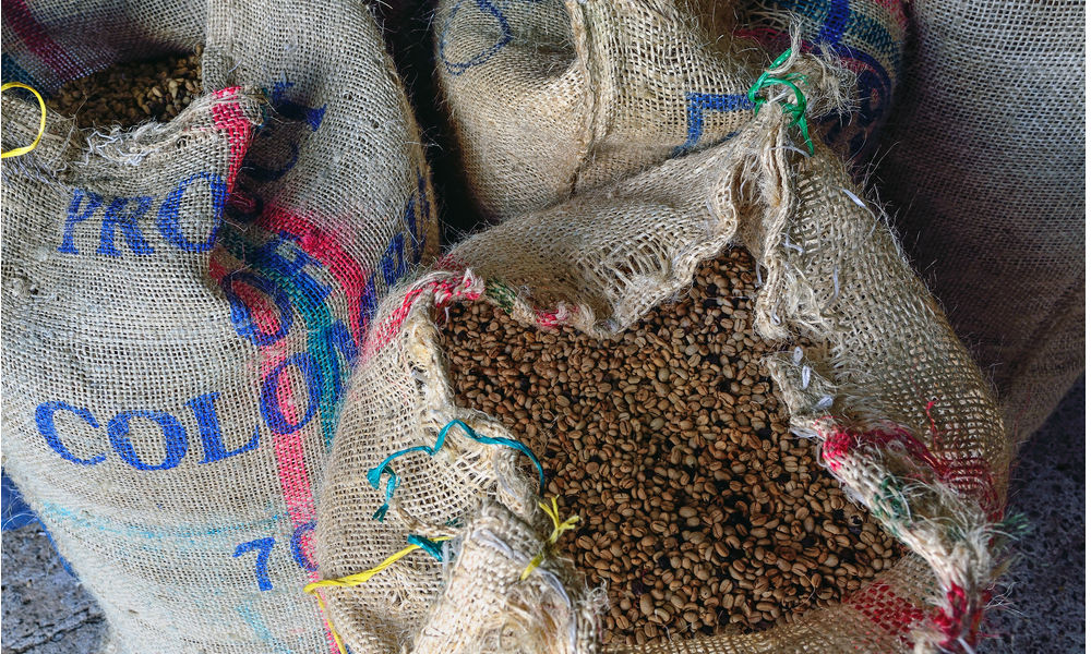 Bags of Colombian Coffee