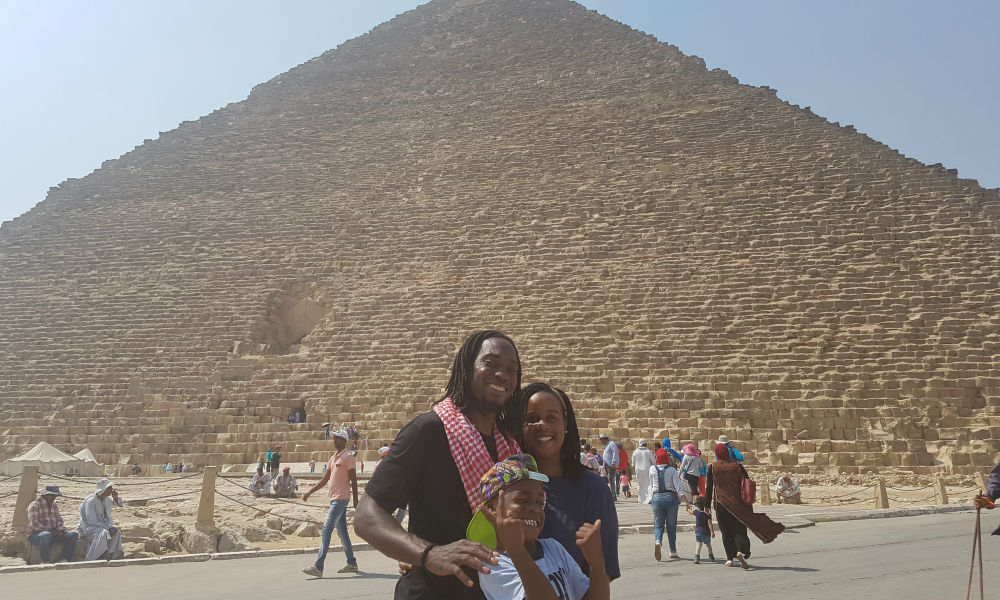 In front of the pyramids in Cairo, Egypt