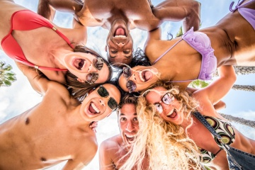 group of friends portrait at the beach, spring break