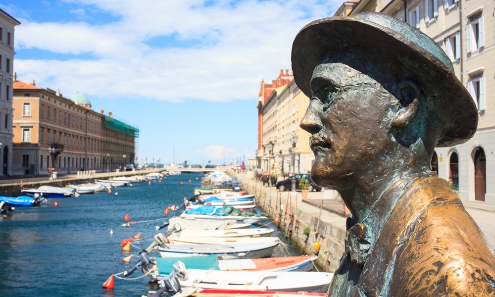 statue of james joyce in the city of trieste