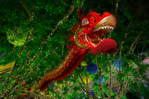 Chinese red dragon on the background of flowers. Las Vegas. Nevada. USA.