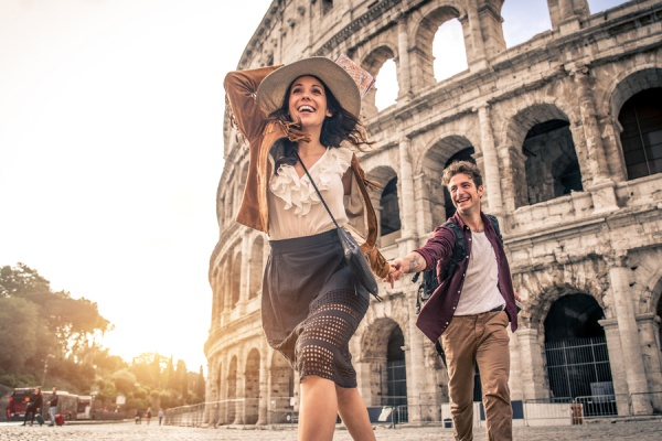Young couple at the Colosseum, Rome
