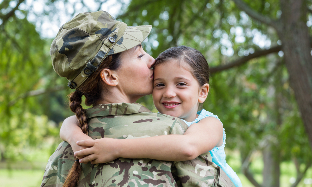 A Military mom with her daughter