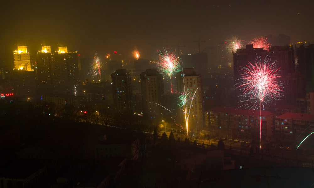 Fireworks for Chinese New Year in Beijing.