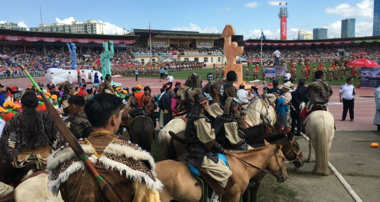 mongolian traditional festival being held at a stadium