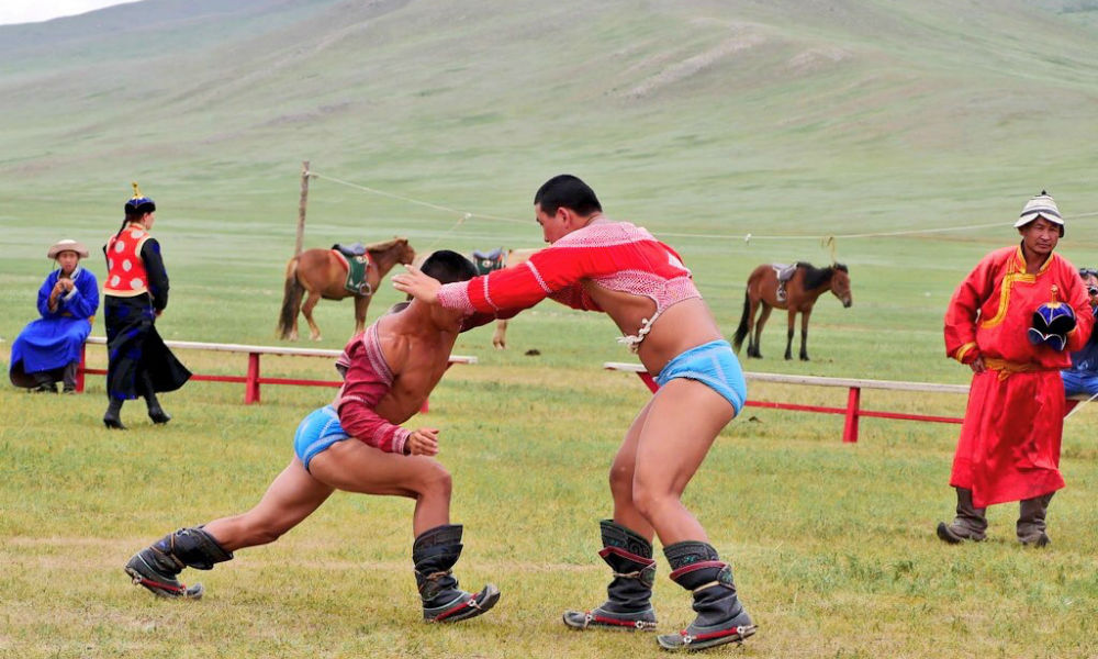 two mongolian wrestlers