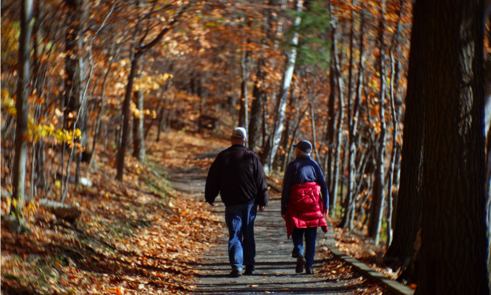 people hiking in Parc National du Mont-Saint-Bruno, Montreal