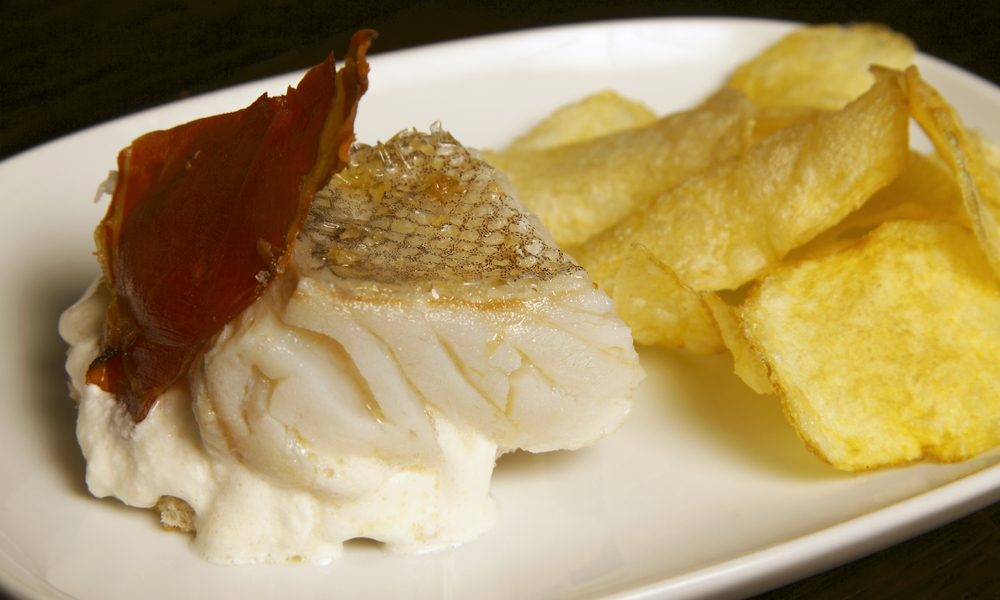 """Portugal Steamed sun dried salted codfish with cured """"presunto"""" ham and golden fried potatoes"""