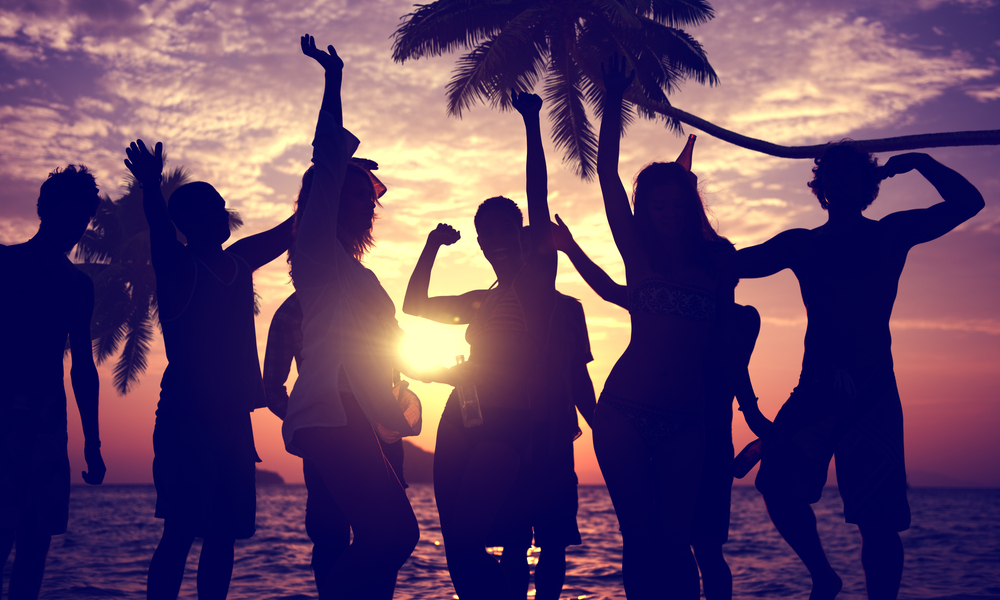 people partying on the beach
