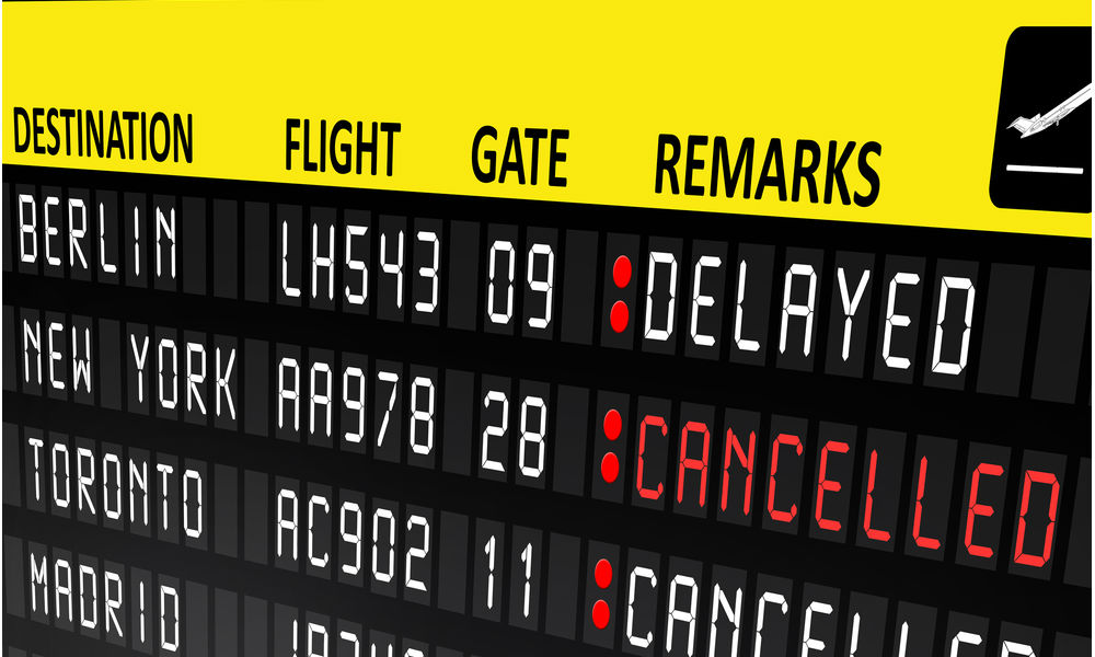 Flight status board for delayed and canceled flights