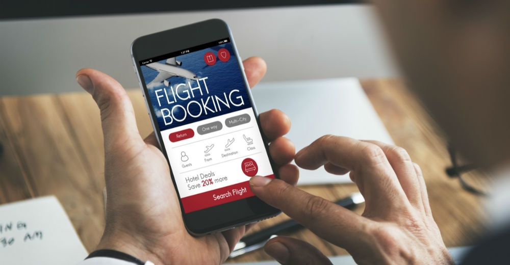 booking flight online on phone