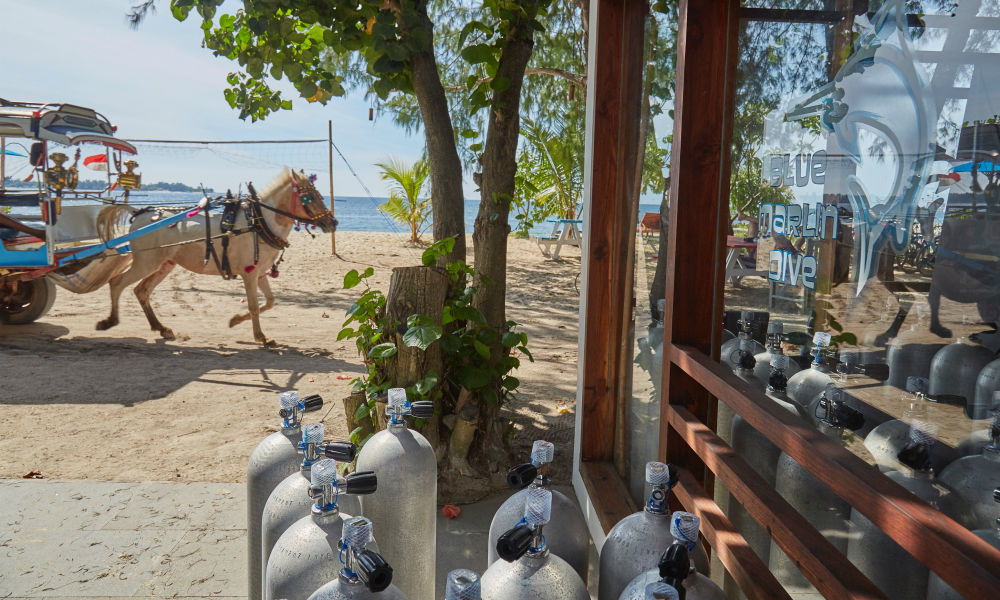 Horse Cart passing by in front of the Blue Marlin Gili Air dive shop