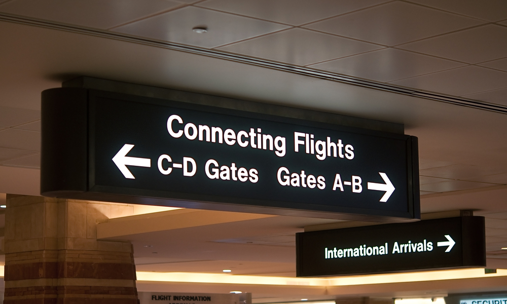 Airport signs and symbols,connecting flights