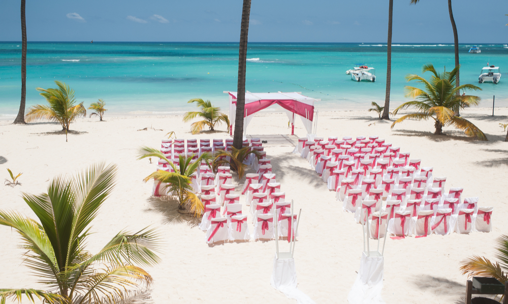 Wedding preparations on the beach in Dominican Republic