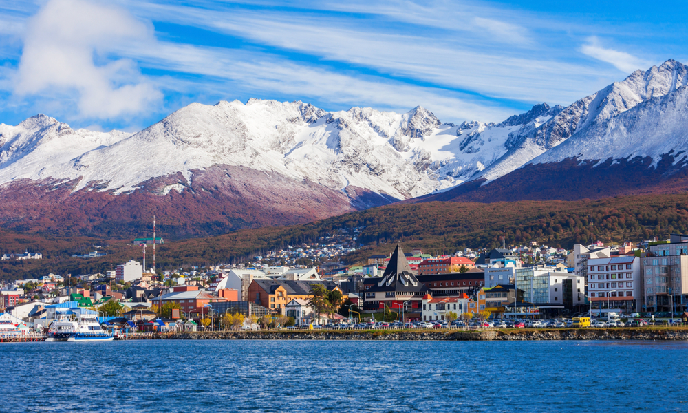 view of homes and landscape of Ushuaia, Argentina