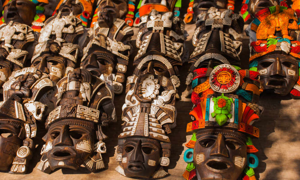 Mexican crafts for tourists on the market.