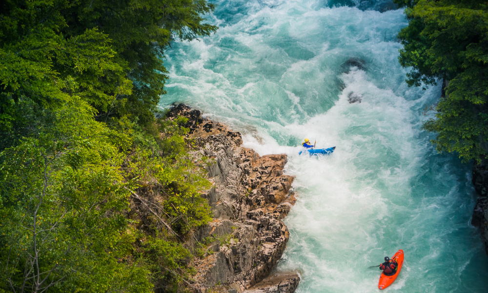 Kayaking at Futaleufu river, Patagonia - Chile.