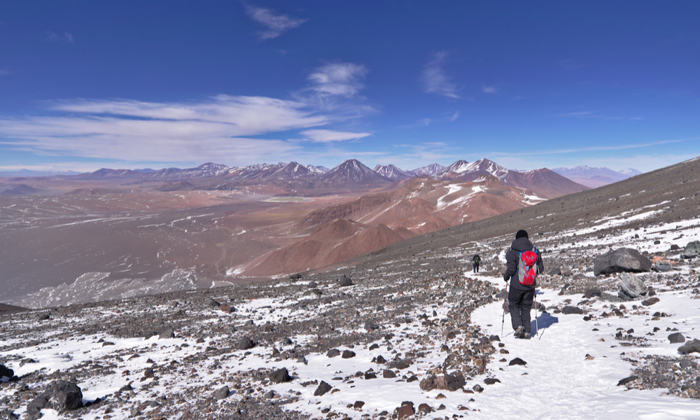 View from Lascar mountain while scaling. This mountain is an active volcano located at Atacama desert in Chile.