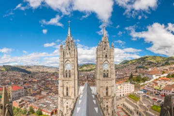 Basilica del Voto Nacional and downtown Quito in Ecuador