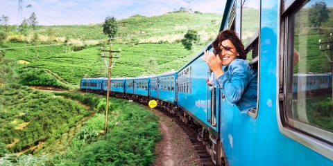 Woman on a sri lanka train