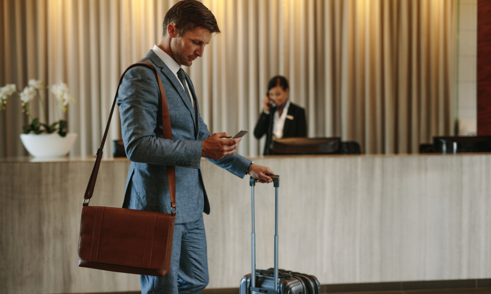 a man traveling for business