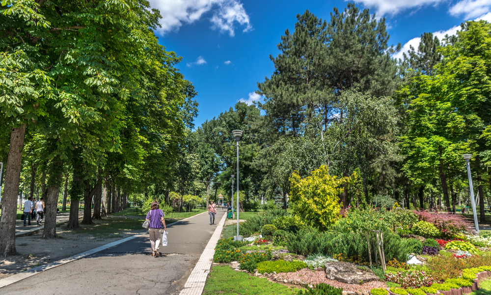 Locals walking near by an amazing public garden through the trees in a blue sky in Chisinau, the capital of Moldavia