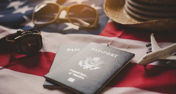 Passport is placed on the US flag.